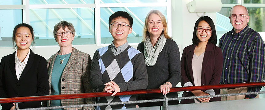 Inaugural recipients of the Accounting Achievement Award and Sobey School of Business professors (L to R): Xuan (Annabelle) Wang, Dr. Nickie Young, Dongsheng Li, Dr. Heather Sceles, Jingyi (Claire) Hou and Dr. Tom Kozloski.